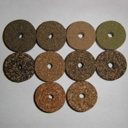 """Rubberized Cork Rings 1/2"""" with 1/4"""" Center Hole"""