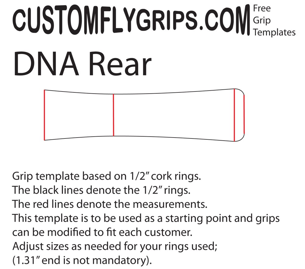 DNA Rear Free Grip Template - Custom Fly Grips LLC
