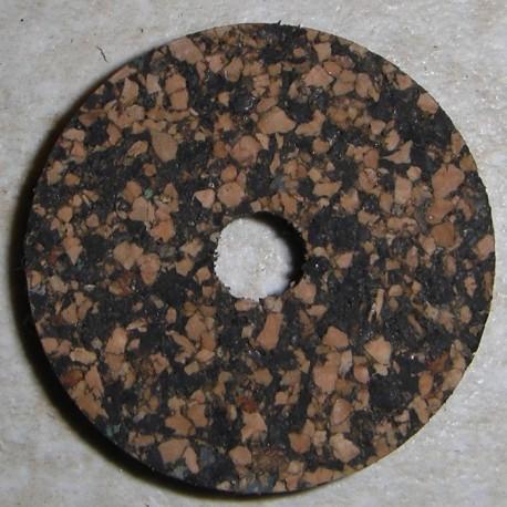 """Anelli di sughero gommato macchiato scuro nero 1/4"""" con foro centrale da 1/4"""""""