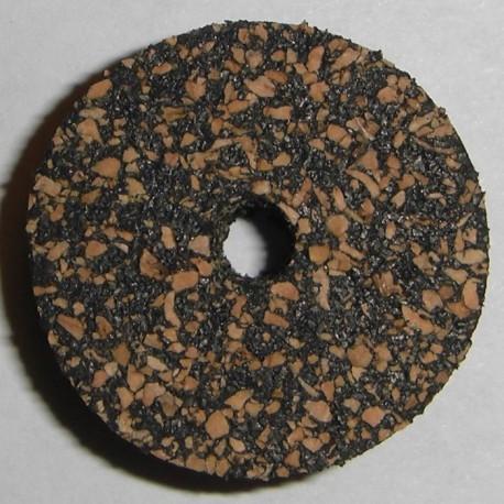 """黑色暗斑点橡胶的软木环 1/2 与 1/4""""中心孔"""