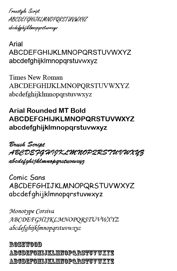 Image of Available Fonts