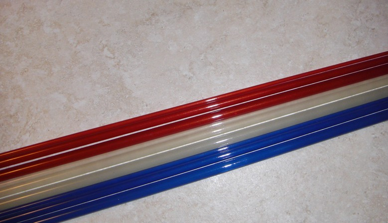 "These beautiful blanks are available in blue, white, and red, 8'0"" 3/4WT and 6'6"" 2/3WT versions."
